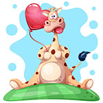 长颈鹿和爱心气球