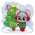 卡通圣诞树和老鼠
