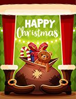 卡通圣诞礼包贺卡