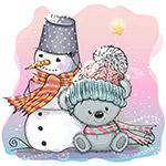 卡通冬季雪人和熊