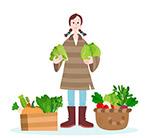 收获蔬菜的女子