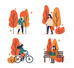秋季树木人物