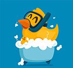 卡通洗澡的小黄鸭