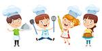 卡通烹饪儿童矢量