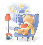 沙发上看书的熊
