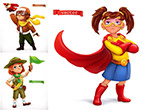 超人与飞行员儿童