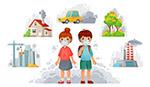 卡通戴口罩儿童