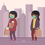 购物的戴口罩女子