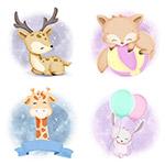 卡通手绘水彩动物