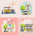 别墅与车辆插画