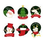 圆形圣诞快乐标签