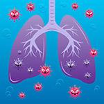 被病毒攻击的肺部