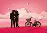 亲吻的情侣剪影