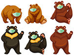 卡通戴口罩的熊