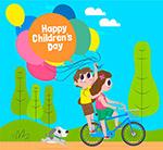 儿童节骑单车的孩子