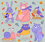 彩绘上学动物