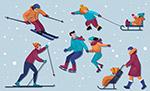 冬季滑雪人物