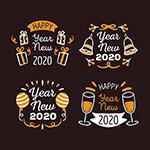 新年快乐艺术字标签
