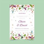 花朵装饰婚礼邀请卡
