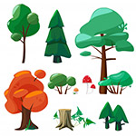 大自然植物元素插画
