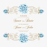 蓝色花卉婚礼邀请函