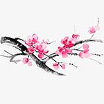 水墨樱花矢量插画