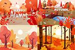秋季树木插画