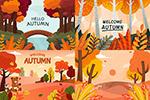 秋天树木与小熊松鼠