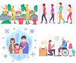 防疫与社交距离插画