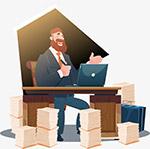 金融男士办公插画