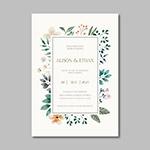 鲜花边框婚礼卡片