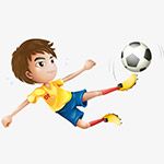 卡通踢足球的运动员