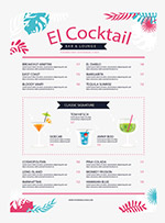 彩色树叶酒吧菜单