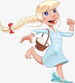 卡通手绘可爱小女孩插