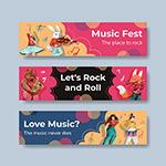 音乐节卡通横幅