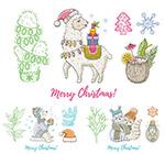 动物圣诞节手绘插画
