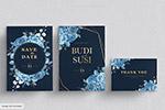 蓝色花朵结婚卡片