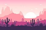 矢量沙漠景观