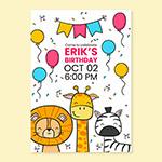卡通动物生日邀请卡