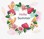手绘花朵你好夏天