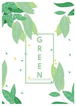 小清新绿色夏天树叶背