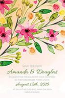 水彩花卉婚礼请柬