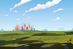山间绿谷中的城市