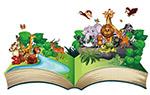 卡通书本上的野生动物