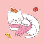 卡通可爱猫母子