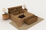 棕色双人床模型