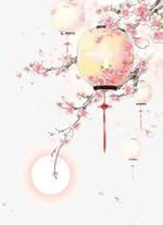 水彩古风桃树灯笼