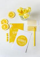 柠檬黄纸张样机
