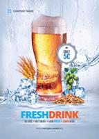 新鲜啤酒促销海报