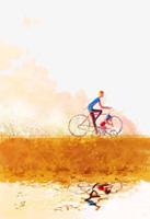 父子骑行插画